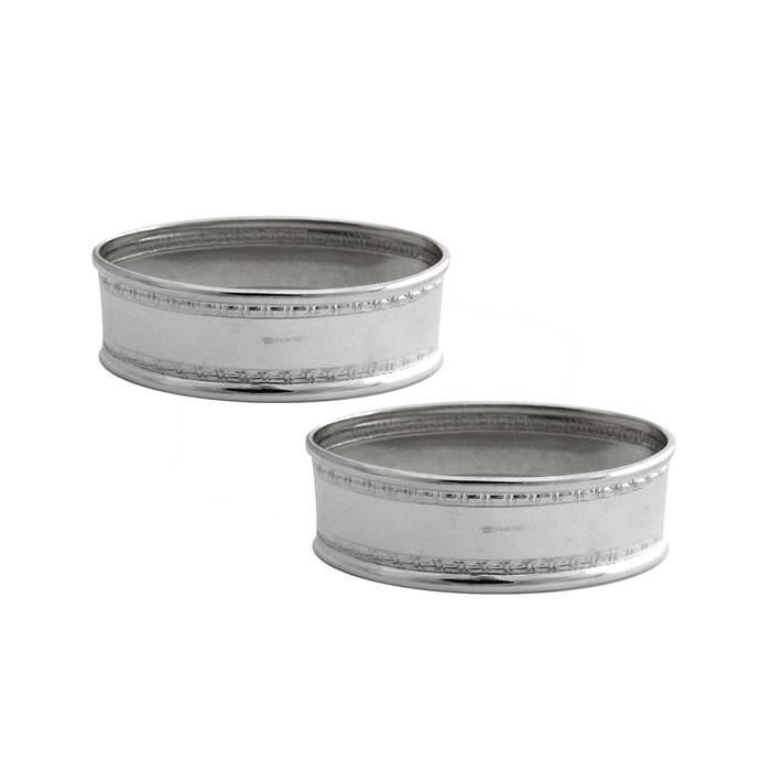 Sterling Silver Rectangular Bordered Napkin Ring Set