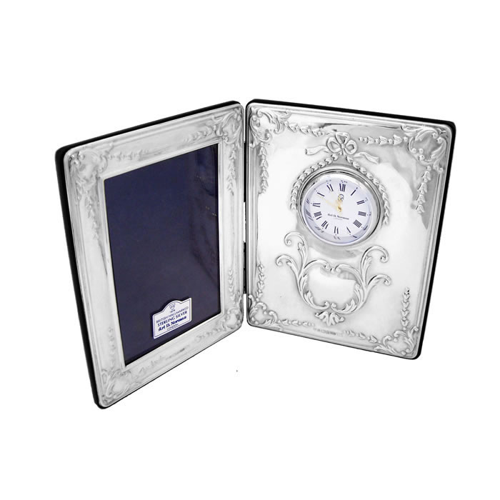 Sterling Silver Folding Frame Clock