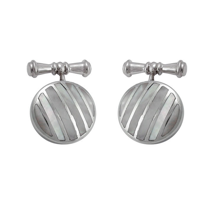 Sterling Silver Round Mother Of Pearl Stripe Cufflinks