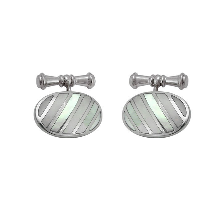 Sterling Silver Oval Mother Of Pearl Stripe Cufflinks