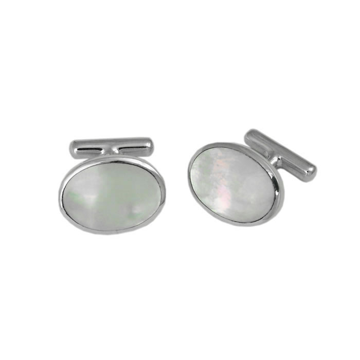Sterling Silver Oval Bordered Mother Of Pearl Cufflinks