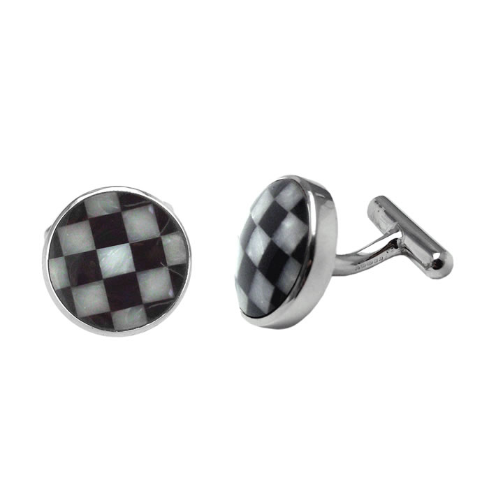 Sterling Silver Circular Onyx Mother Of Pearl Checked Cufflinks