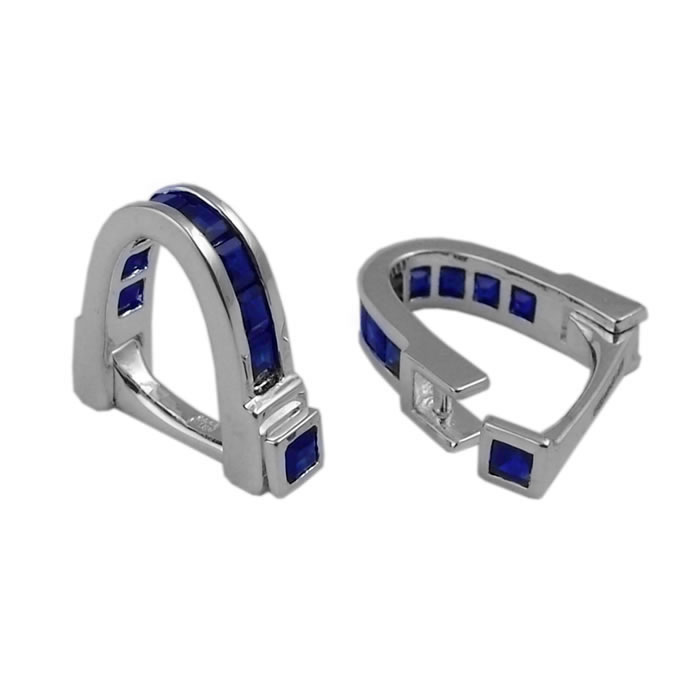 Sterling Silver Sapphire Wrap Around Cufflinks