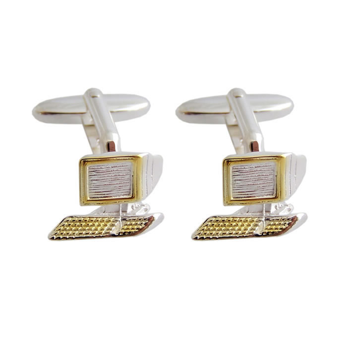 Sterling Silver With Gold Plate Computer Screen Cufflinks