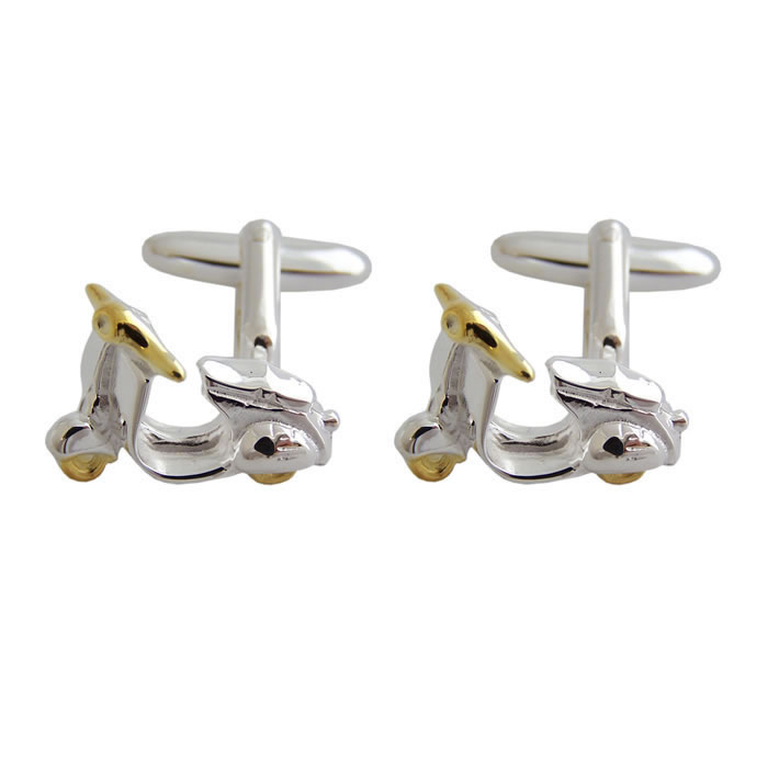 Sterling Silver With Gold Plate Scooter Cufflinks