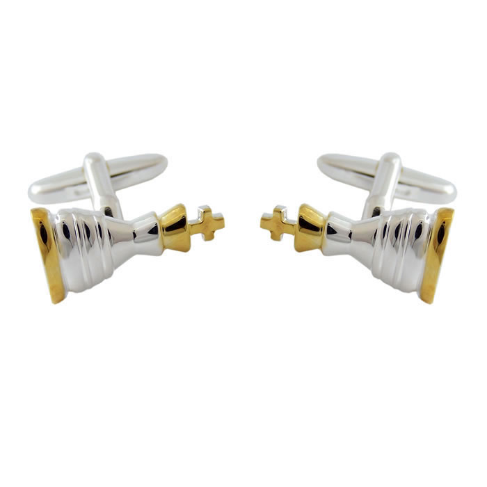 Sterling Silver Gold Plate Chess Piece Cufflinks