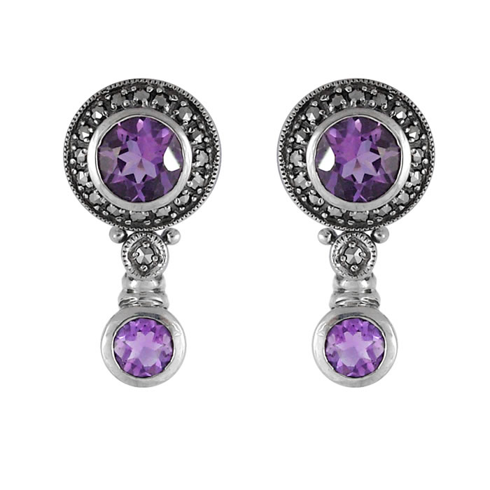 Sterling Silver Marcasite Amethyst Earrings