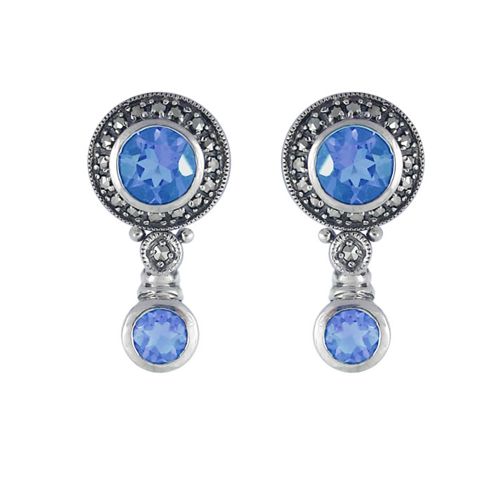 Sterling Silver Synthetic Aquamarine Topaz Circular Earrings