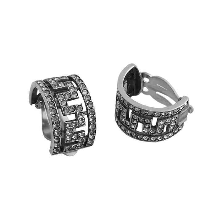 Sterling Silver Cubic Zirconia Semi Circle Earrings