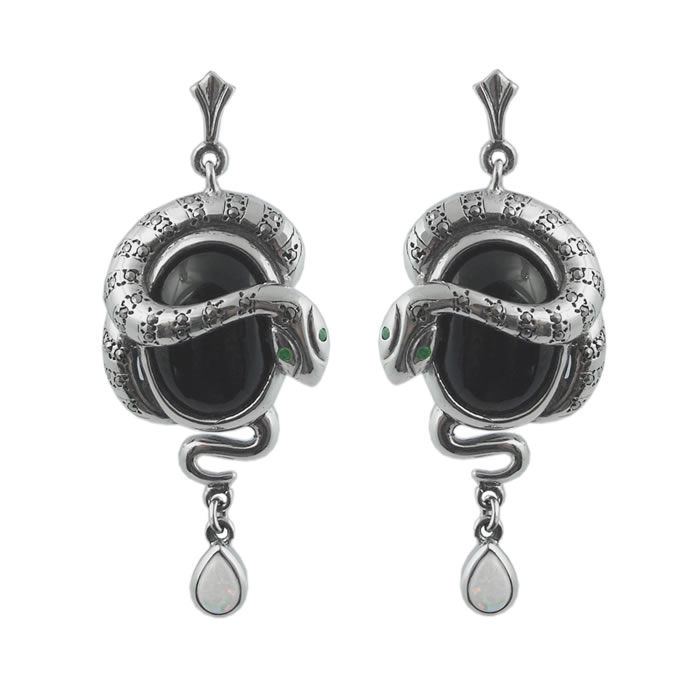 Sterling Silver Art Nouveau Onyx Snake Earrings