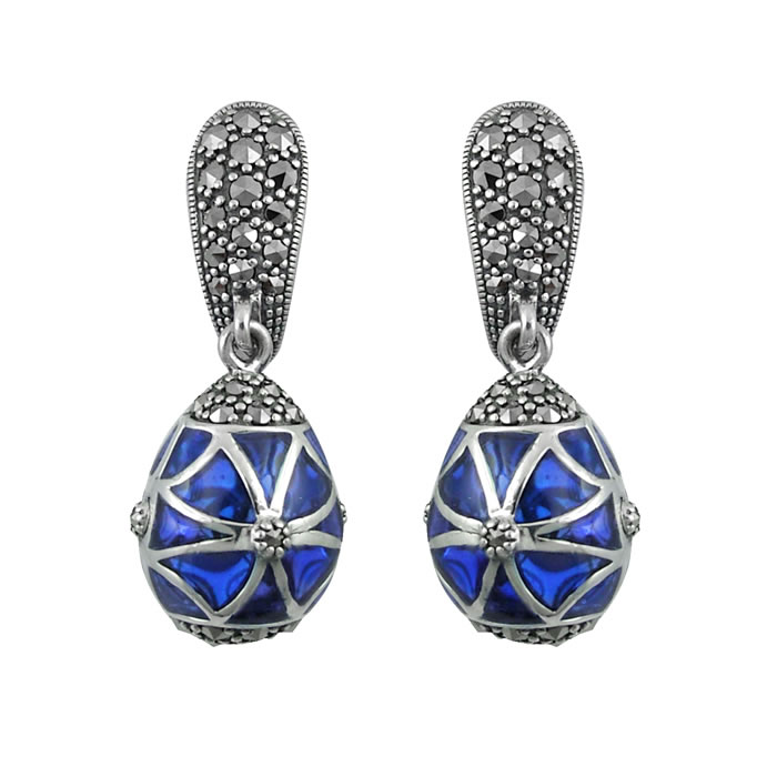 Sterling Silver Blue Marcasite Droplet Earrings