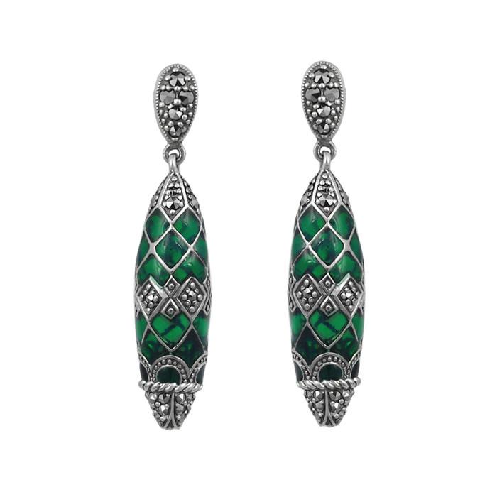 Sterling Silver Green Enamel And Marcasite Delicate Droplet Earrings