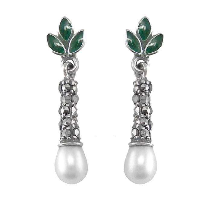 Sterling Silver Green Enamel Freshwater Pearl Droplet Earrings