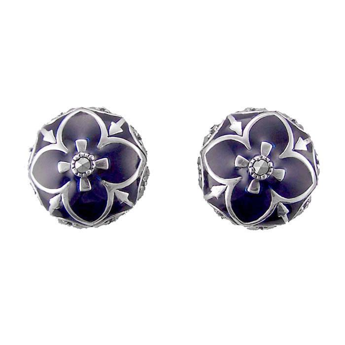 Sterling Silver Blue Marcasite Cross Over Earrings