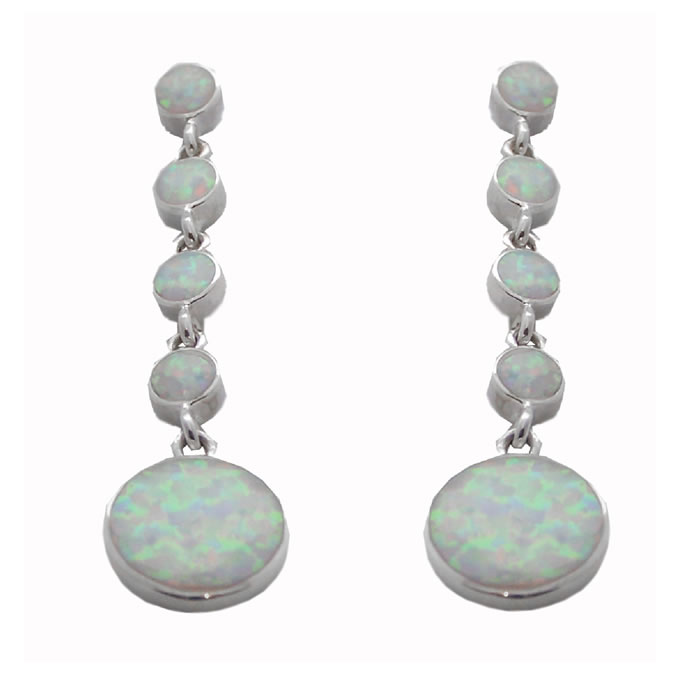 Sterling Silver Crushed Opal Round Drop Earrings