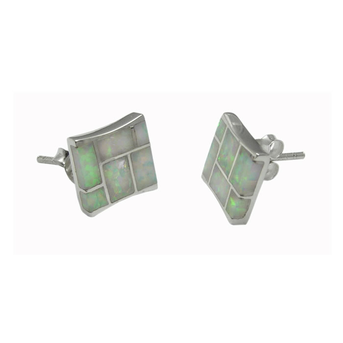 Sterling Silver Crushed Opal Mosaic Tile Earrings