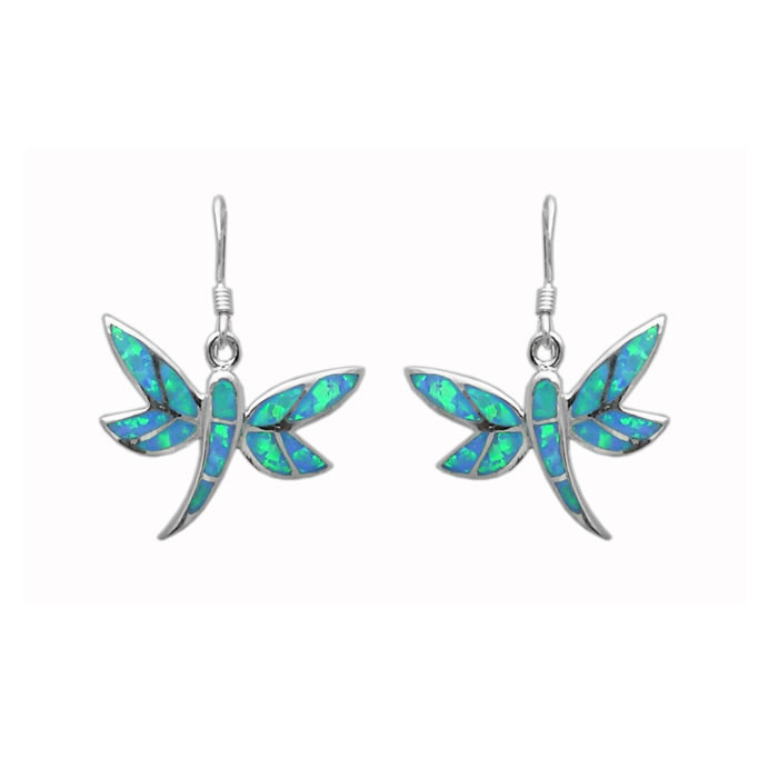 Sterling Silver Turquoise Crushed Opal Art Nouveau Dragonfly Earrings