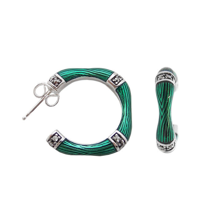 Sterling Silver Green Enamel And Marcasite Hooped Earrings