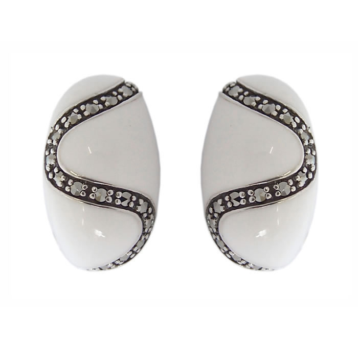 Sterling Silver White Marcasite Bullet Earrings