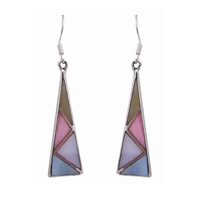 Sterling Silver Enamel Multi Coloured Triangular Earrings