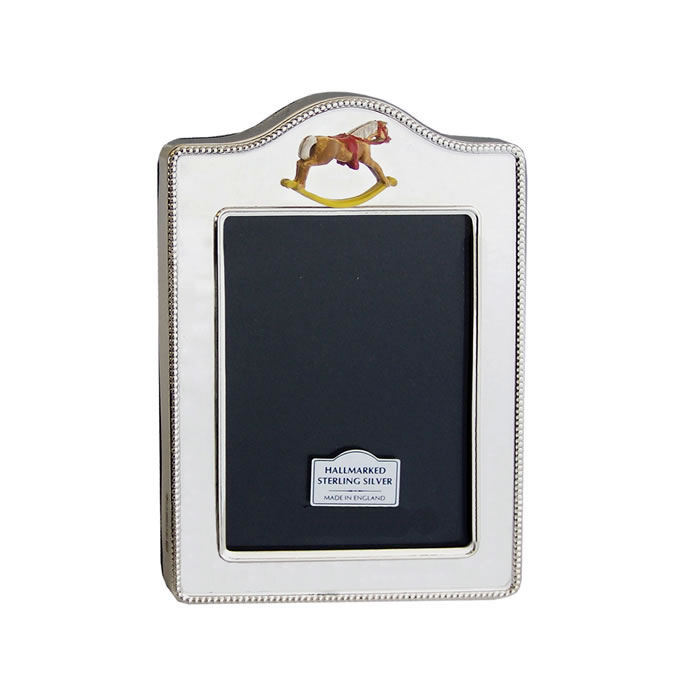 Sterling Silver Rope Design Hand Painted Rocking Horse 5x4cm Photo Frame