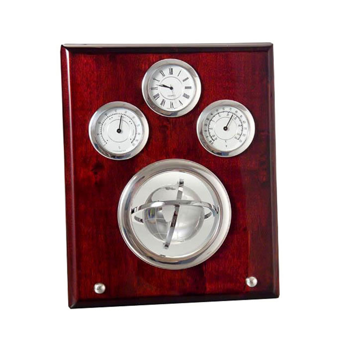Sterling Silver Veneer Three Face Clock