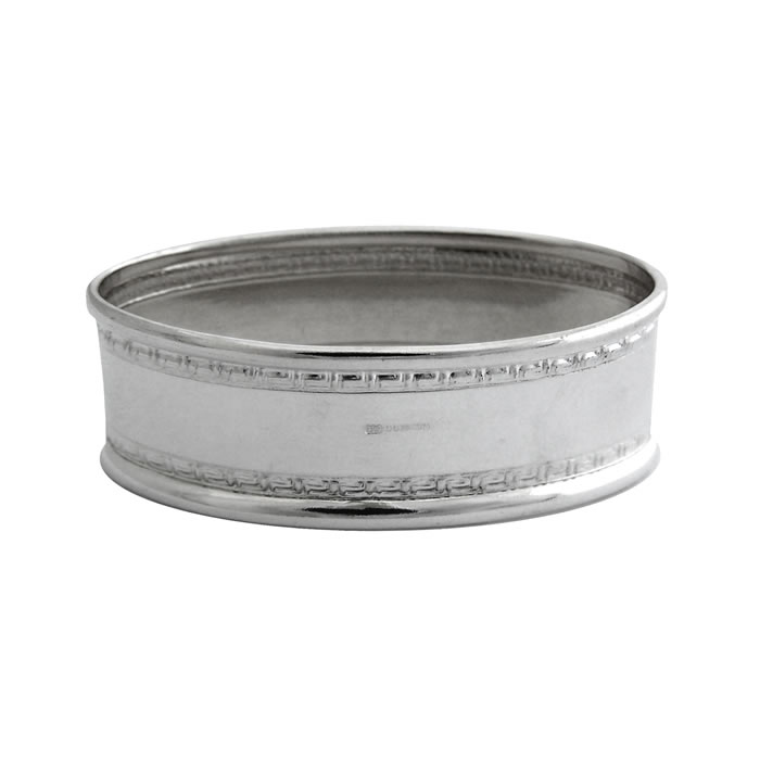 Sterling Silver Rectangular Patterned Boarder Napkin Ring