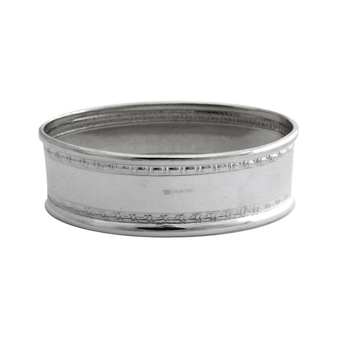 Sterling Silver Rectangular Patterned Boarder Napkin Ring
