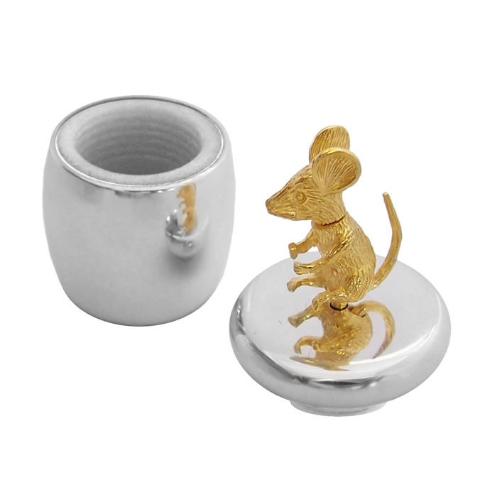 Sterling Silver And Gold Plated Mouse Tooth Fairy Box