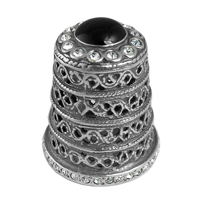 Sterling Silver Simpel Style Onyx Thimble