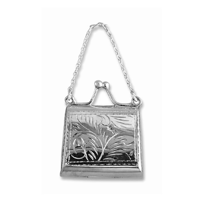 Sterling Silver Square Floral Purse Pendant