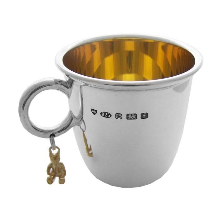 Sterling Silver And Gold Plated Feature Hallmark Christening Cup