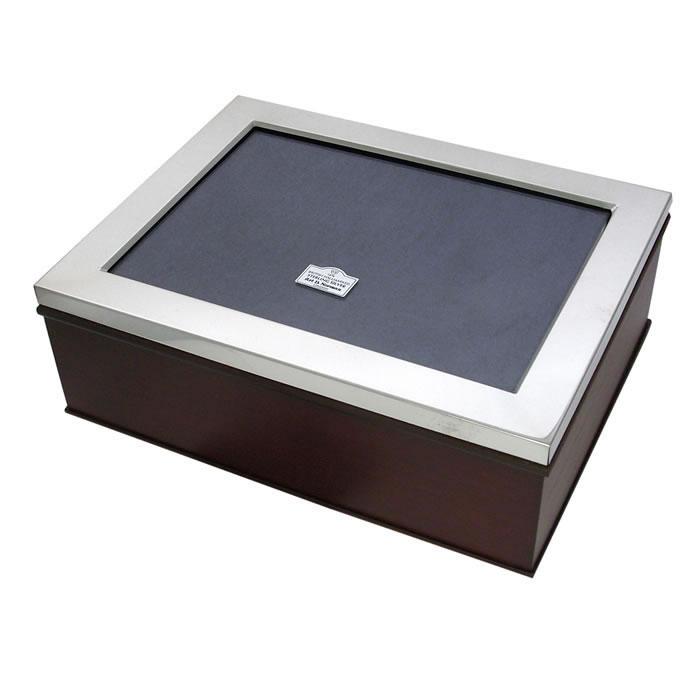 Sterling Silver Rectangular Wooden Photo Frame Keepsake Box