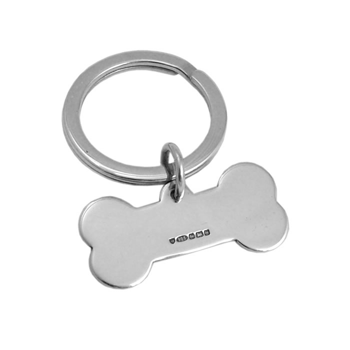 Sterling Silver Small Dog Bone Keyring
