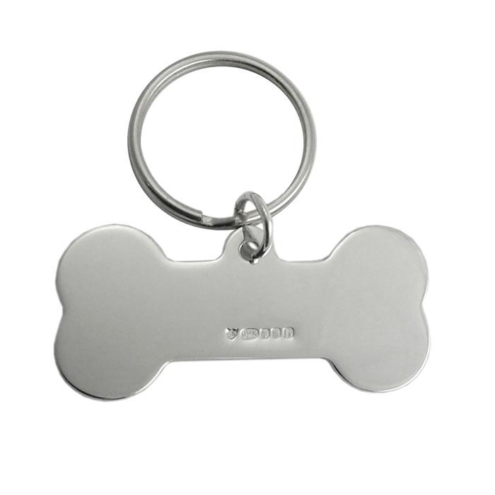 Sterling Silver Large Dog Bone Keyring