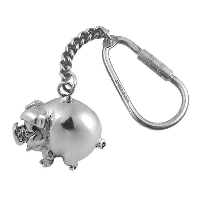 Sterling Silver Simple Pig Keyring