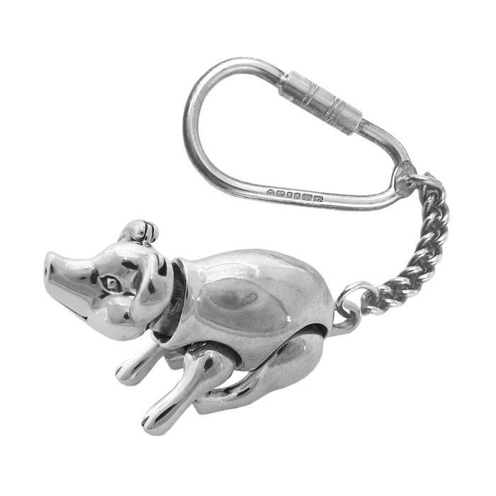 Sterling Silver Movable Pig Keyring