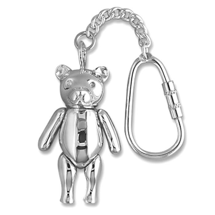Sterling Silver Large Movable Teddy Bear Keyring