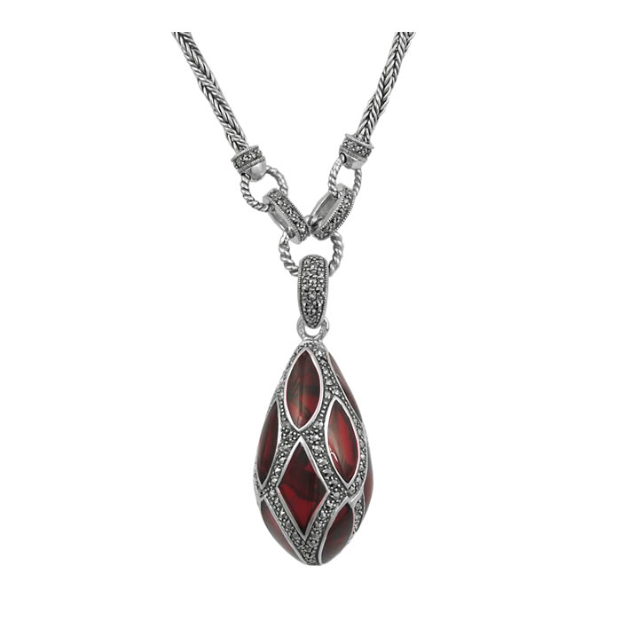 Sterling Silver Red Enamel And Marcasite Teardrop Necklace