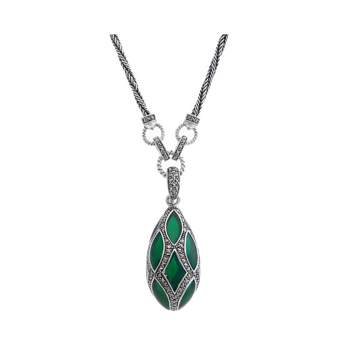 Sterling Silver Green Enamel And Marcasite Teardrop Necklace
