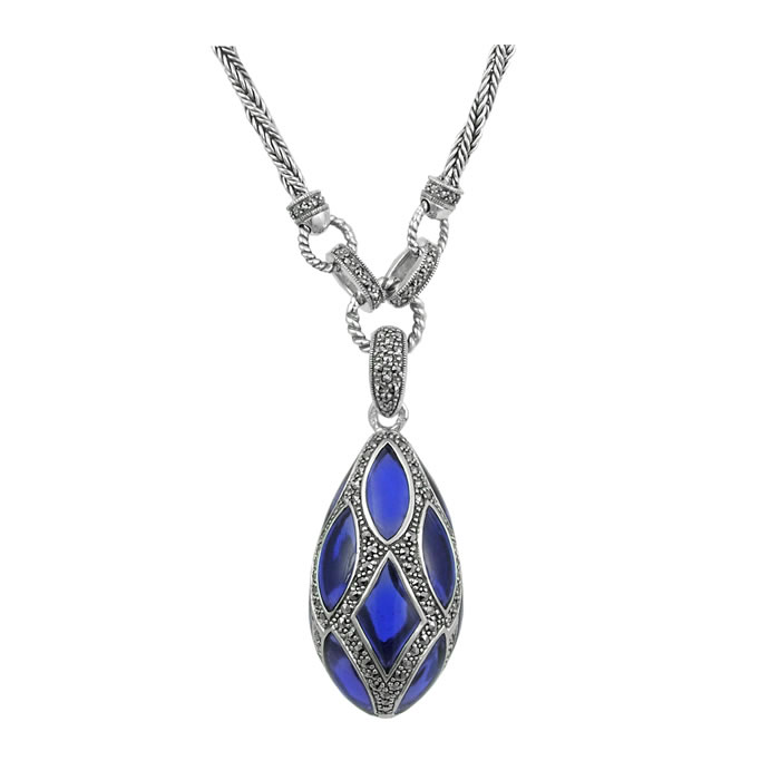 Sterling Silver Blue Enamel And Marcasite Teardrop Necklace