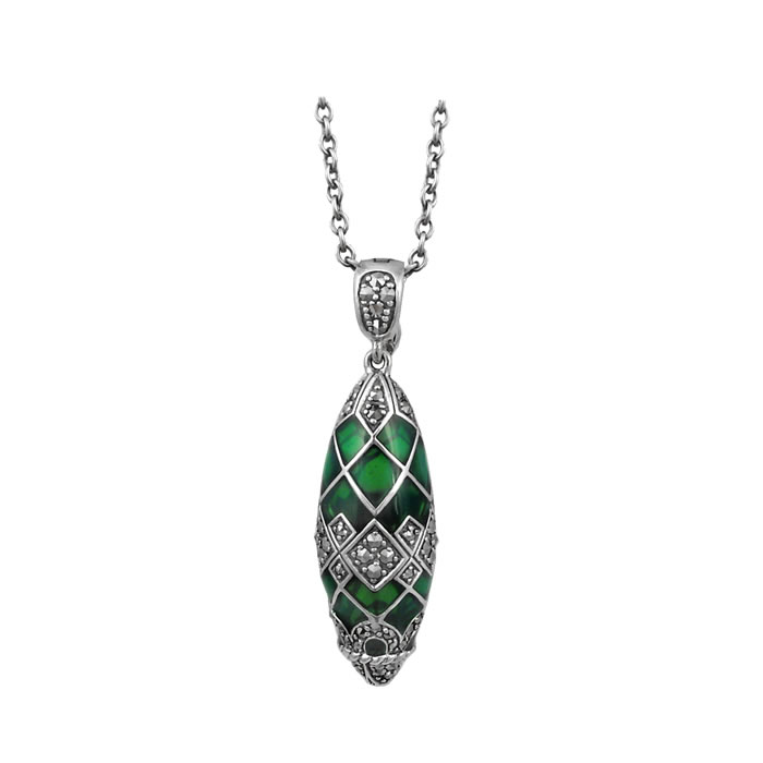 Sterling Silver Green Enamel And Marcasite Delicate Droplet Necklace