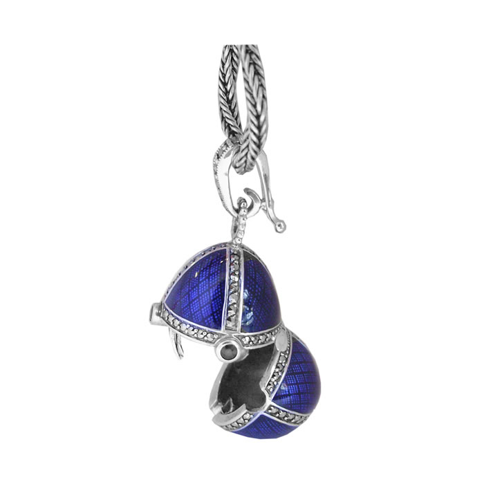 Sterling Silver Blue Enamel And Marcasite Locket Necklace