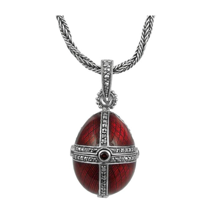 Sterling Silver Red Enamel And Marcasite Locket Necklace