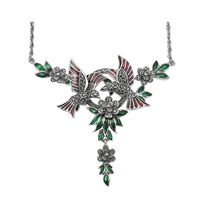 Sterling Silver Marcasite Art Nouveau Birds Necklace
