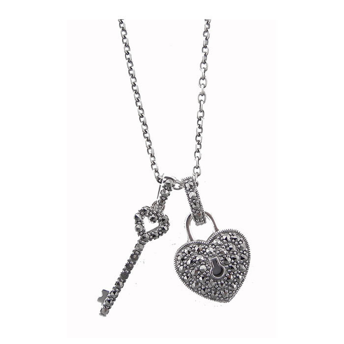 Sterling Silver Key To My Heart Necklace