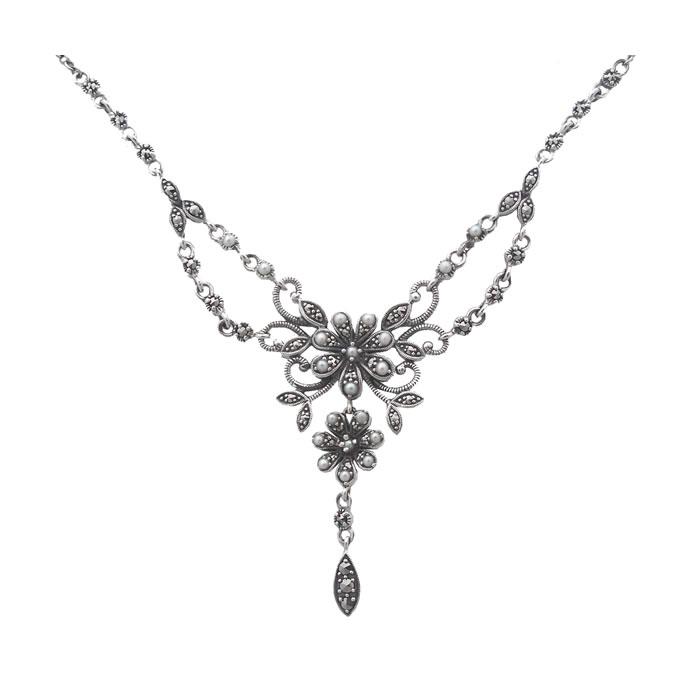 Sterling Silver Marcasite Art Nouveau Floral Necklace