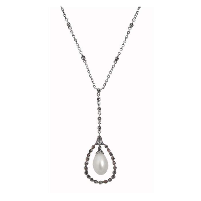 Sterling Silver Marcasite And Freshwater Pearl Teardrop Necklace