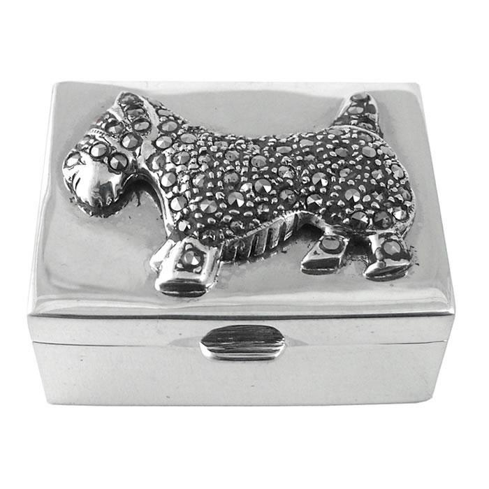 Sterling Silver Marcasite Scottie Dog Pill Box