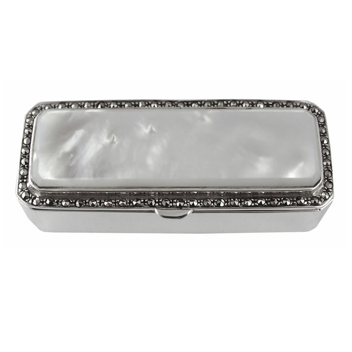 Sterling Silver Marcasite And Mop Rectangle Pill Box
